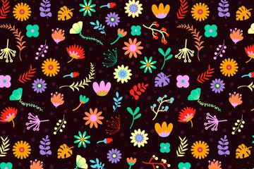黑底彩色花卉无缝背景矢量素材