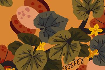 彩绘南瓜秧和南瓜矢量素材