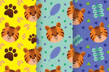 3款可爱老虎头像无缝背景矢量素材