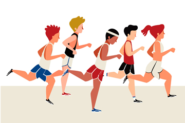 ��意跑步的人群矢量素材
