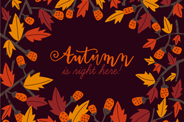 创意秋季树叶和果实框架矢量素材