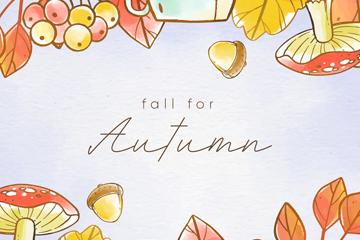 彩绘秋季元素框架设计矢量素材