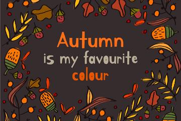 彩绘秋季元素矢量素材