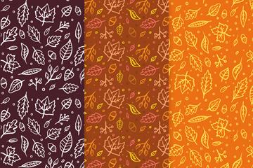 3款创意秋季落叶无缝背景矢量图