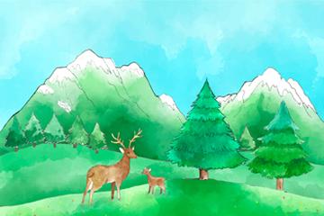 水彩�L郊外自然鹿�L景矢量素材