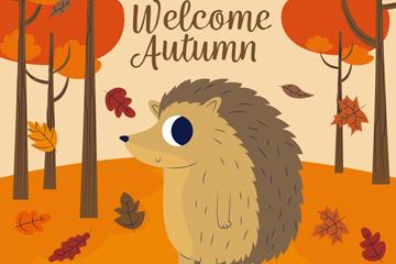 可爱秋季森林刺猬矢量素材