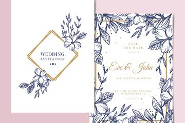 手绘花卉婚礼邀请卡正反面设计矢量图