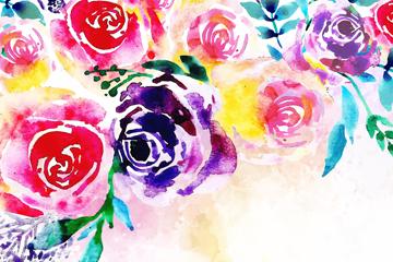 水彩绘多种颜色玫瑰花矢量素材