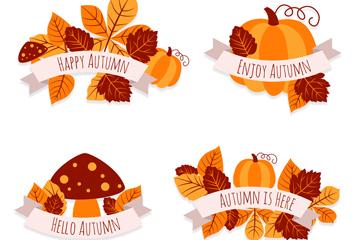 4款创意秋季树叶标签矢量素材
