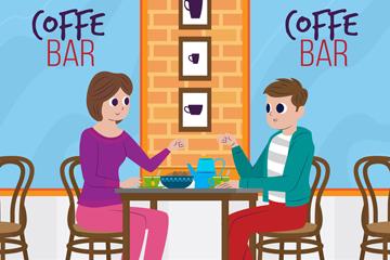 创意咖啡馆约会男女矢量素材