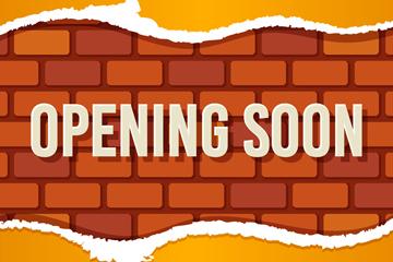创意即将开业砖墙矢量素材