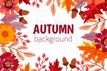 彩色秋季花卉树叶框架矢量素材