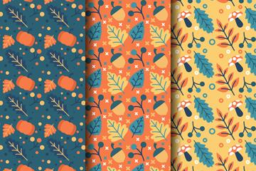 3款彩色秋季�o�p背景矢量素材