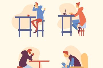 4款创意咖啡馆休息人物矢量图