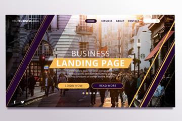 创意街道人群商务网站登陆页矢量图