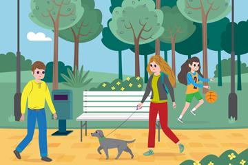 创意公园休闲散步人物矢量素材