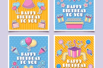 4款彩色正方形生日卡片矢量素材