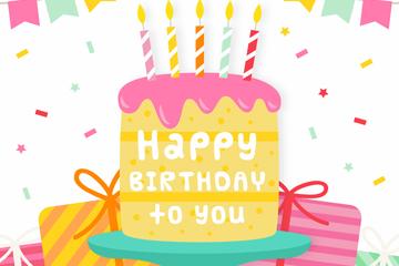 彩色生日蛋糕和礼物矢量素材