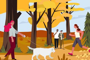 创意郊外休闲散步人物矢量素材
