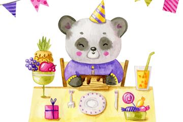 水彩绘过生日的熊猫矢量素材