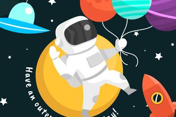 创意太空宇航员生日贺卡矢量素材