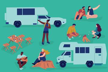 创意开房车野营人物矢量素材