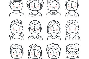 12款创意微笑人物头像矢量图