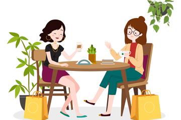 创意咖啡馆约会的2个女子矢量图