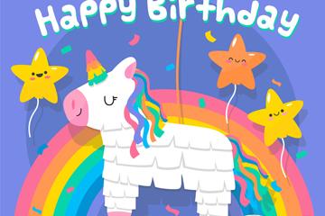 可爱生日彩虹和独角兽矢量素材
