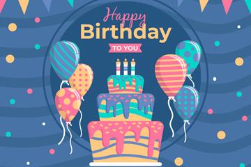彩色生日蛋糕气球贺卡矢量素材