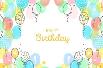 彩色生日气球装饰贺卡矢量素材