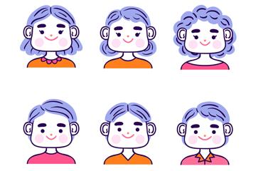 6款��意微笑人物�^像矢量素材
