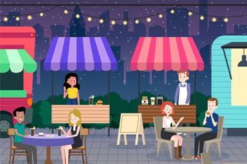 卡通夜晚小吃��街景矢量素材