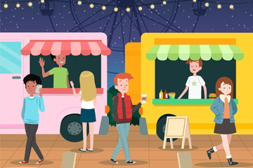卡通游乐园外卖小吃车矢量图
