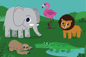 4只创意草地上的动物矢量素材