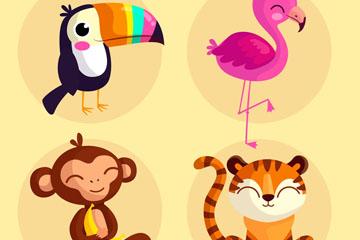 4款可爱笑脸动物矢量素材