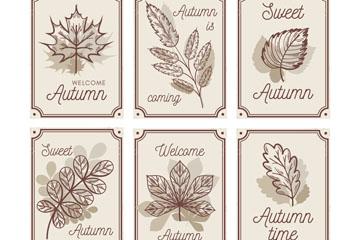 6款手绘秋季树叶卡片矢量素材