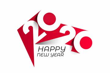 抽象2020年新年艺术字矢量图