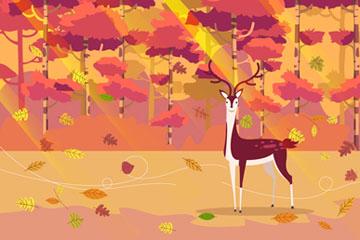 ��意秋季�L中的森林鹿矢量素材