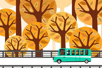 ��意秋季�蛏闲旭�的汽�矢量素材