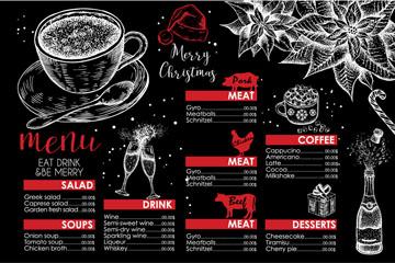 创意圣诞节黑板画菜单矢量素材