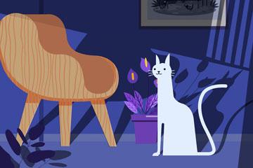 创意客厅里的白色猫咪矢量素材