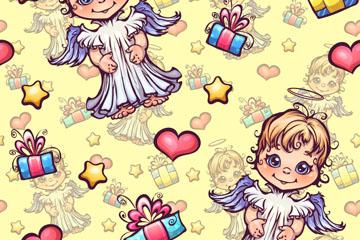 卡通天使和�Y盒�o�p背景矢量�D