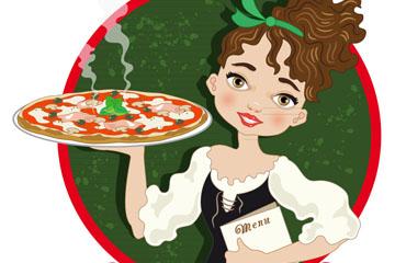 卡通端披萨的女子矢量素材