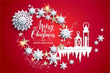 银色圣诞节雪花风灯贺卡矢量图