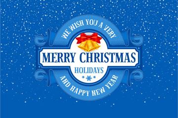 蓝色圣诞节新年贺卡矢量素材