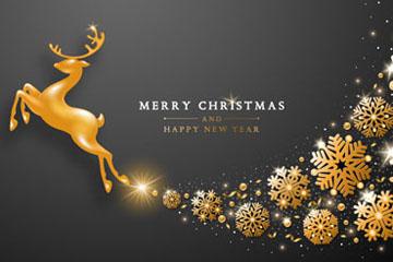 金色圣诞节驯鹿雪花矢量素材