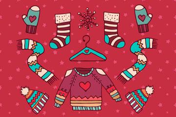 卡通圣诞节服饰和配饰矢量素材