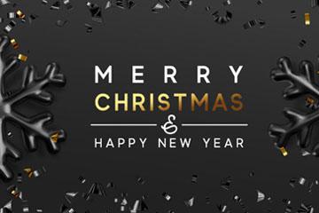 金色和黑色圣诞新年雪花矢量图