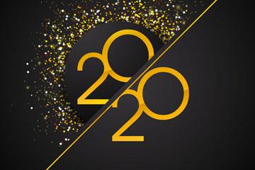 2020年金色亮片艺术字矢量图